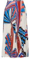 Emilio Pucci Pleated Printed Stretch-Jersey Skirt
