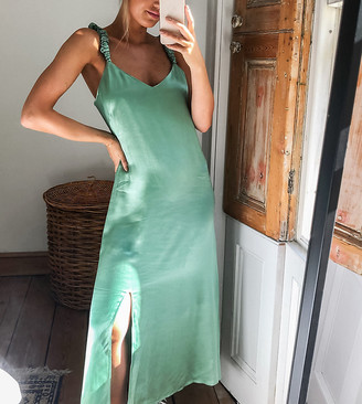 And other stories & satin scrunch straps midi dress in green
