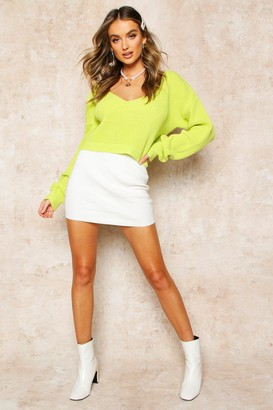 boohoo V Neck Fisherman Crop Sweater
