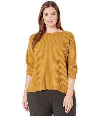 Eileen Fisher Plus Size Seamless Italian Cashmere Round Neck Top