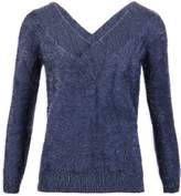 Morgan Fluffy Knit Jumper V-Neck Front And Back