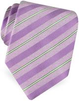 Forzieri Gold Line- Pin Striped Diagonal Lines Woven Silk Tie