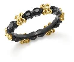 Armenta 18K Yellow Gold and Blackened Sterling Silver Old World Black Sapphire Stacking Ring
