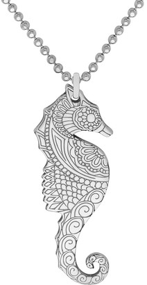 Cartergore Large Silver Seahorse Pendant Necklace