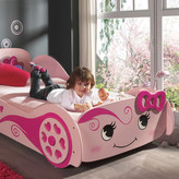 Pink Racing Car Bed & Bedzone Pocket Spring Mattress