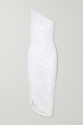 Norma Kamali Diana One-shoulder Ruched Stretch-jersey Dress - White