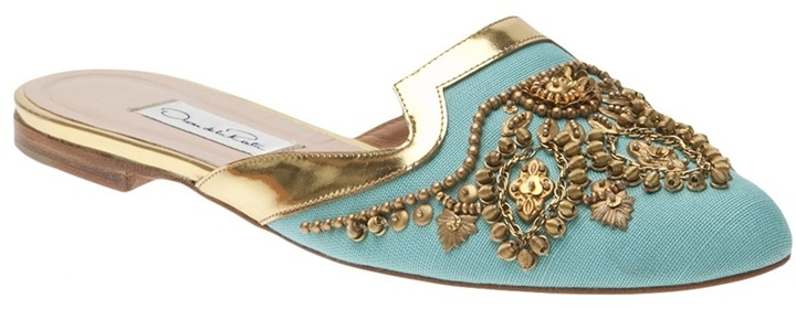 Oscar de la Renta Flat embroidered spanish mule
