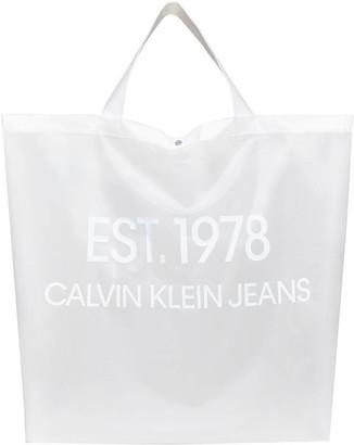Calvin Klein Jeans Est.1978 transparent logo tote