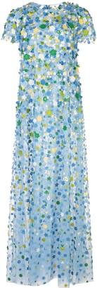 Carolina Herrera Floral Motif Embroidered Cap Sleeve Gown