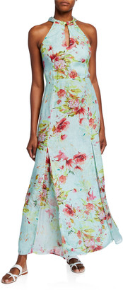 120% Lino Floral Print Keyhole-Neck Halter Maxi Dress