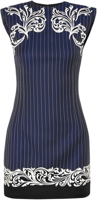 Versace Embroidered Pinstriped Wool Mini Dress