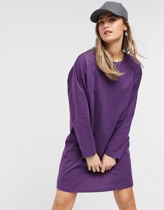 ASOS DESIGN oversized long sleeve t-shirt dress in aubergine