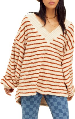 Free People Connell Stripe Faux Fur Top