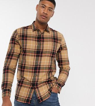 Topman Big & Tall long sleeve shirt in stone tartan