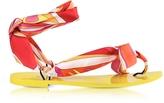 Emilio Pucci Fuchsia Printed Silk Flat Sandals