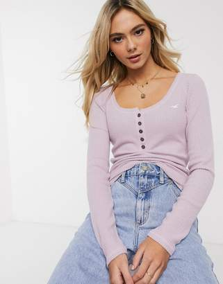 Hollister cosy ribbed henley top-Purple