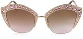 Gucci GG0114S Metal Cat Eye Women's Sunglasses w/Crystals