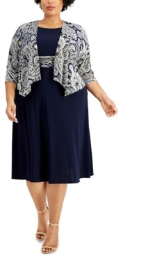 Jessica Howard Plus Size Draped Jacket & Fit & Flare Dress