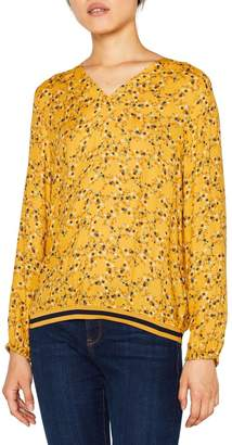 Esprit Womens Yellow Blouse Top With Elastic Hem - Yellow