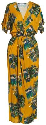 AILANTO Mustard Lilies Wrap Dress