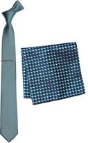 Jade Textured Tie, Pocket Square And Tie Clip Set