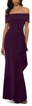 Xscape Evenings Petite Off-The-Shoulder Ruffled Gown