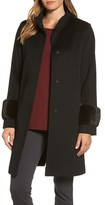 Fleurette Women's Lora Piana Wool Coat With Genuine Mink Fur Bracelet Cuffs