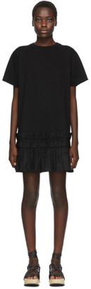 See by Chloe Black Pleated Hem T-Shirt Dress