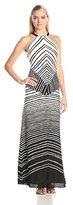 Halston Women's Halter Neck Stripe Print Maxi Dress