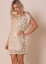 Missy Empire Pippa Gold Sequin Shift Mini Dress
