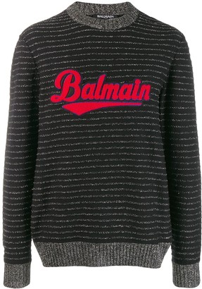 Balmain Logo Embroidered Striped Jumper