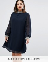 Asos Swing Dress With Embellished Collar And Cuff