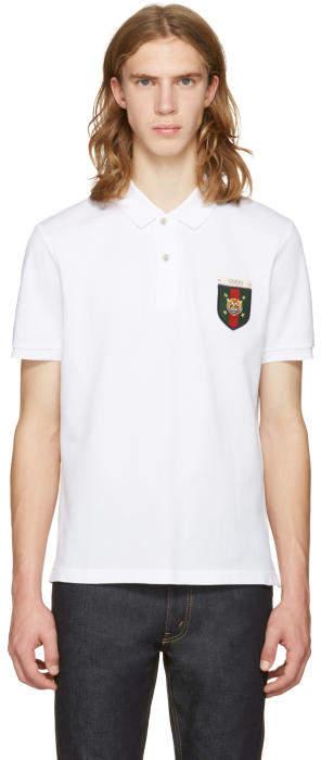 Gucci White Embroidered Tiger Crest Polo