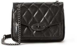 Mulberry Mini Darley Shoulder Bag Black Quilted Shiny Calf
