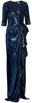 Teri Jon by Rickie Freeman Sequin Wrap Gown