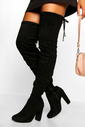boohoo Wide Fit Block Heel Thigh High Boot