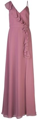 Marchesa ruffle trim bridesmaid gown