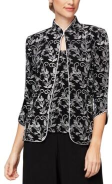 Alex Evenings Mandarin-Collar Floral-Print Twinset