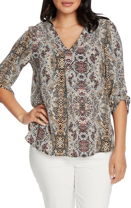Chaus Roll Sleeve Snake Print Blouse
