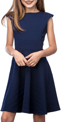 Un Deux Trois Girl's Textured Cap Sleeve Dress, Size 7-16