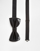 Noose & Monkey Bow Tie With Metal Tips - Black