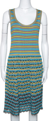 M Missoni Grey & Blue Wavy Textured Knit Sleeveless Dress L