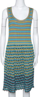M Missoni Grey & Blue Wavy Textured Knit Sleeveless Dress L