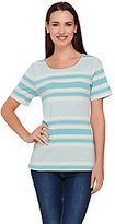As Is Liz Claiborne New York Short Sleeve Striped Top