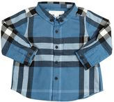 Burberry Check Cotton Flannel Button Down Shirt