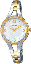 Pulsar Womens Crystal-Accent Two-Tone Bracelet Watch PH8120