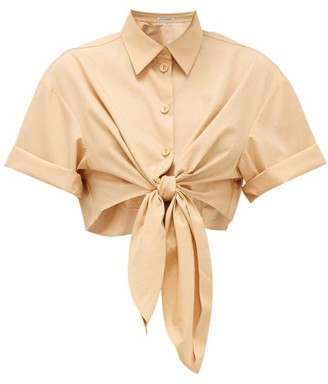 Vika Gazinskaya Tie-front Cotton Shirt - Tan