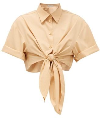 Vika Gazinskaya Tie-front Cotton Shirt - Womens - Tan