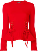 Alexander McQueen lace-up detailed jumper - women - Wool/metal - XS