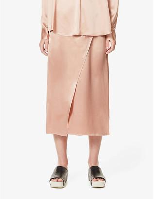 Vince High-waist wrap-over silk skirt